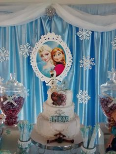 Lovely cake at a Frozen birthday party!  See more party planning ideas at CatchMyParty.com!