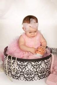first birthday picture. Love this with baby in hat box holding baby and pearls