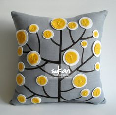 Sukan / Modern Pattern Pillow Cover - 14x14 inch - Gray Linen,Yellow, Black, White Color  $43