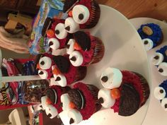 Elmo and Cookie Monster cupcakes! The cake part is healthy :) 1/2 c coconut flour, 1/3 c cocoa powder,1/4 tsp baking soda, 1/4 tsp sea salt, 4 eggs, 1/3 c coconut oil (melted), 1/2 c honey or maple syrup, 1 tbsp vanilla extract. Mix dry ingredients together then add wet. Makes 8 cupcakes. If you want vanilla cupcakes omit the cocoa powder. Great for my sons 1st birthday cake!