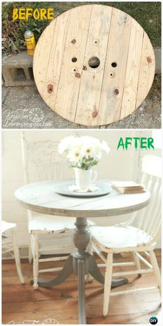 DIY Wire Spool Dining Table Instructions - Wood Wire Spool #Furniture Recycle Ideas