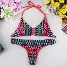National Style Sexy Halter Bikini Swimsuit Padded Bra Swimwear Suit Triangle Beachwear