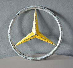 Large logo for rustic wall deco. Mercedes Logo, Old Mercedes, Mercedes Benz Cars, Car Badges, Car Stuff, Old Cars, Automobile, Classy, Trucks