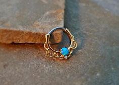 Gold Septum Clicker Blue Fire Opal Nose Jewelry 16ga Daith Ring Clicker Bull Ring Nose Piercing