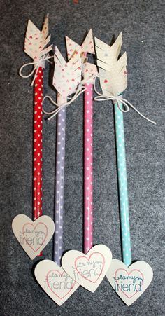 Easy to make not-candy valentines for kids. But if candy is your style, use pixie sticks for arrow rod.