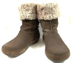 81dff35696bf Crocs Shoes Womens Size 8 M Brown Rubber and Suede Snow-Winter Boots  Crocs