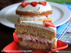 Want to impress your special one or guests with an elegant cake? This eggless strawberry cream cake is the answer. You can't go wrong with a moist eggless sponge cake, filled with fresh strawberries and topped with homemade whipped cream. Eggless Chocolate Cake, Chocolate Mousse Recipe, Strawberry Cream Cakes, Strawberries And Cream, Cupcake Recipes, Baking Recipes, Eggless Recipes, Eggless Sponge Cake, Egg Free Cakes