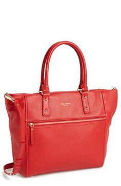 kate spade new york 'cobble hill - lilla' leather tote (Nordstrom Exclusive) in black Work Handbag, Work Bags, New York S, Shoulder Strap, Kate Spade, Nordstrom, Handbags, Purses, Vixen