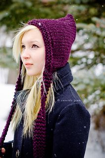 This fun and whimsical pixie hat is knit with 100 yards of a super bulky yarn. I would consider this an intermediate pattern because of the finishing and seaming techniques. The pattern itself is easy, you just need to know knits and purls and basic decreasing.