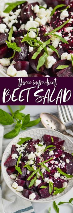 This Easy Beet Salad with Feta only has THREE ingredients and is such a light and perfect summer side dish! Roasting beets is so simple and can be done ahead of time, making this a great and easy weeknight side dish! Roasted Beets Recipe, Roasted Beet Salad, Beet Salad Recipes, Vegetable Side Dishes, Vegetable Recipes, Vegetarian Recipes, Healthy Recipes, Cooking Recipes, Vegan Side Dishes