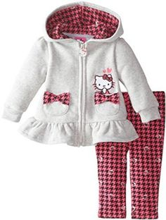 Hello Kitty Baby-Girls Newborn Fleece Hoodie with Houndstooth Legging, Heather Gray, Months Kids Outfits Girls, Girl Outfits, Toddler Fashion, Kids Fashion, Hello Kitty Baby, Girls Fleece, Baby Kind, Little Girl Dresses, Fleece Hoodie