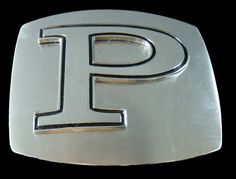 INITIAL LETTER NAME P CHROME BELT BUCKLE BUCKLES