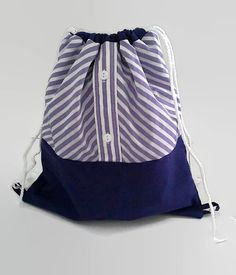 Purple Women's Shirt Cinch Sack Upcycled Drawstring by debupcycles