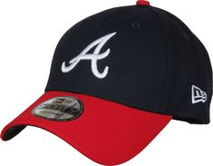 New Era 9Forty Atlanta Braves The League Adjustable Baseball Cap. Dark Navy with the Braves 'A' front logo, the New Era side logo, the BRAVES rear strap logo, a