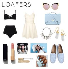 """""""New Trend: Loafers"""" by supersummerlover ❤ liked on Polyvore featuring MOEVA, Topshop, Fendi, The Cambridge Satchel Company, John Lewis, BillyTheTree, Eugenia Kim, Chanel and Stila"""