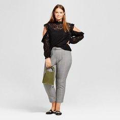 Women's Plus Size Lace Cold Shoulder Blouse - Who What Wear Black 4X