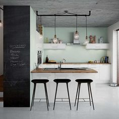 Lights and stools and blackboard