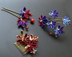 https://flic.kr/p/AAbhM5 | Autumn leaves kanzashi collection | Handmade kanzashi by me. <3
