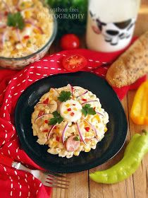 Az otthon ízei: Tésztasaláta gazdagon Potato Salad, Bacon, Food And Drink, Eggs, Chicken, Breakfast, Ethnic Recipes, Minden, Erika