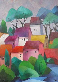 Easy Canvas Painting, City Painting, Fashion Painting, House Painting, Canvas Art, Color Pencil Art, Naive Art, Landscape Art, Watercolor Flowers