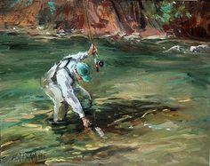 Success! fly fishing oil painting  Mary Maxam