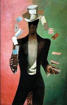 František Tichý - Magician with cards (1934-44) #painting  #art #Czechia