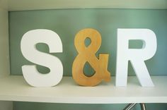 CUSTOM White and Gold Initial Paper Mache Letter Decor by Foxglo