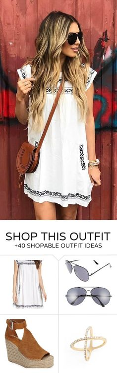 #spring #outfits  White Printed Dress + Brown Leather Shoulder Bag