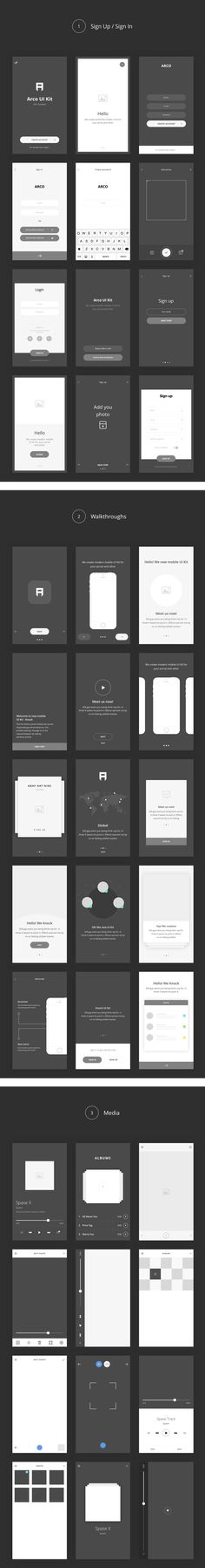 Arco – Wireframe Mobile UI Kit. A consistent and meticulously organized set of vector-based wireframe components to quickly bring your iOS and Android app ideas to life. Think of it as your w...