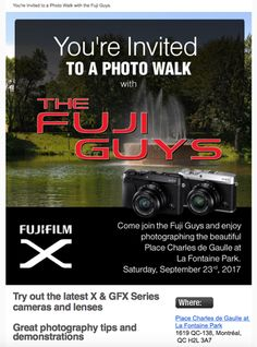 You're Invited: Fujifilm Canada's Public Event of the Latest X & GFX Series Cameras & Lenses and Photo Walk in Toronto-September 17, and Montreal-September 23, 2017, at No Cost https://www.photoxels.com/fujifilm-event-x-gfx-series-cameras-lenses-and-photo-walk-in-toronto-september-17-and-montreal-september-23-2017-at-no-cost/