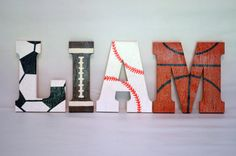 Sports Wooden Letters, Custom Made / Wood Block / Wall Decor / Wall Hanging / Nursery / Kids' Room / Playroom / Storybook Letters
