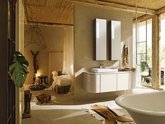 Wonderful Bathroom Adjacent To Bedroom With White Floating Vanity And Bathtub Also Animal Skin Rug