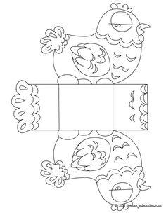 Coloriage : Boîte Pâques poule à colorier et à découper: