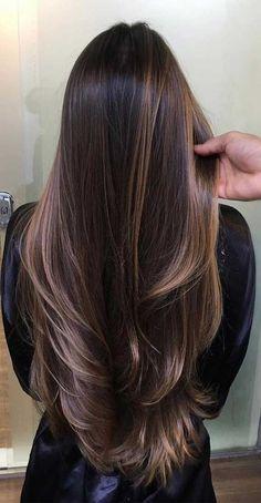 Balayage Hair Blonde, Brown Blonde Hair, Hair Color For Black Hair, Cool Hair Color, Balayage Dark Brown Hair, Dark Hair Balyage, Dark Hair Lowlights, Long Hair Colors, Brown Ombre Hair Medium