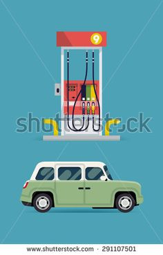 Cool detailed vector flat design elements on transport with gas station pump and modern city car - stock vector