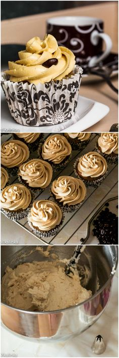 Pumpkin cupcakes topped with Pumpkin Spice Latte Swiss Meringue Buttercream- the perfect end to a elegant dinner!