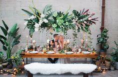 wedding tables - photo by Katt Willson http://ruffledblog.com/stylish-tropical-wedding-inspiration-in-the-pacific-northwest