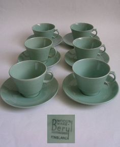 WOODS WARE BERYL CUPS AND SAUCERS