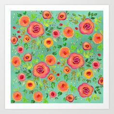 Colorful Watercolor Spring Flower Pattern Art Print by art-by-lang - X-Small Pattern Art, Print Patterns, From The Ground Up, Buy Frames, Spring Flowers, Flower Patterns, Printing Process, Gallery Wall, Colorful