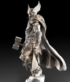 [image] Title: - Thor - Name: David Molina Country: Colombia Software: ZBrush Maya Submitted: February 2016 A Private Commission i did last year. The idea on the concept is that the Helmet and Hammer were th… Character Model Sheet, Character Modeling, 3d Modeling, Cg Art, Art For Art Sake, Statues, Batman Poster, Celtic Warriors, 3d Figures