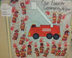 Children at this CCLC helped create a display board of their favorite community helper. The students selected firemen. Ages: Toddler, Preschool, PreK, and Kindergarten