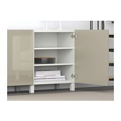 BESTÅ Storage combination with doors - white/Selsviken high-gloss/beige - IKEA