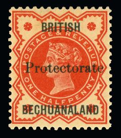 """Philasearch.com - Betschuanaland, Scott 53, SG 54. 53 (54) 1890 ½d vermilion Q Victoria of Great Britain, overprinted """"Protectorate"""" (SG Type 16) 15mm long, rare and undercatalogued as only a few sheets were printed, this stamp is difficult to locate as this was an essay overprint that was pressed into service during a stamp shortage, OG, NH, SUPERB  Erhaltung **  Anbieter Colonial Stamp Company  Saalauktion Ausruf: 595.00 US$ (ca. 471 EUR)"""