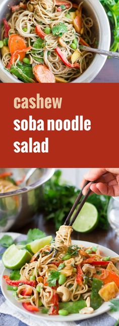 This luscious soba noodle salad from Minimalist Baker's Everyday Cooking is made with hearty buckwheat noodles tossed with rich cashew butter dressing, crisp veggies and juicy mango chunks.make sure to use gf soba Vegetarian Entrees, Vegetarian Recipes Easy, Veg Recipes, Asian Recipes, Whole Food Recipes, Cooking Recipes, Healthy Recipes, Cooking Ideas, Lunch Recipes