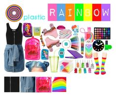 """Plastic Rainbow"" by melaccamarina on Polyvore featuring moda, T By Alexander Wang, DKNY, Matthew Williamson, Rip Curl, PUR, Accessorize, Casetify, claire's e My Little Pony"
