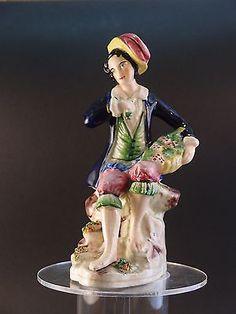 Antique Staffordshire Figure Boy Figurine with Basket