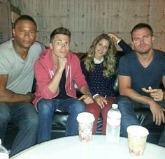 David Ramsey, Colton Haynes, Emily Bett Rickards, and Stephen Amell Stephen Amell Arrow, Arrow Oliver, Arrow Cast, Arrow Tv, Emily Bett Rickards, Tommy Merlyn, Colin Donnell, Actors Funny, David Ramsey
