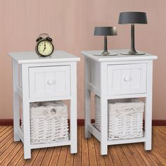 Shabby Chic Wooden White Bedside Cabinet Units Table Drawers with Wicker Storage in Home, Furniture & DIY, Furniture, Bedside Tables & Cabinets   eBay