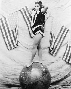 Circus Acrobat Girl Stands On Ball! 8x10 Reprint Of Old Photo