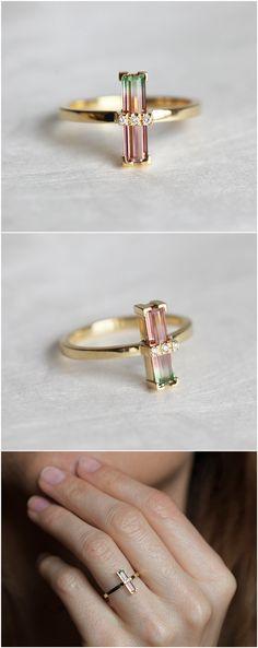 Watermelon Tourmaline Ring, Bi Color Tourmaline Ring, Unique Engagement Ring, Baguette Engagement Ring, Gold Tourmaline Ring